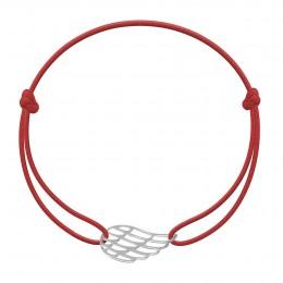 Bracelet avec aile en argent sur un cordon fin de couleur rouge