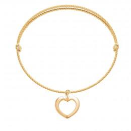 Bracelet avec un cœur ajouré en or585 sur un cordon épais doré premium
