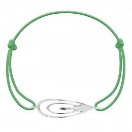 Bracelet avec un Paon en argent sur un cordon fin vert gazon