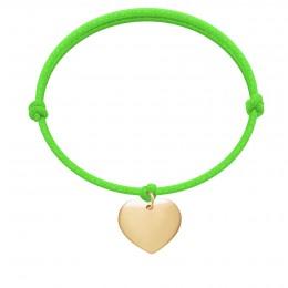 Bracelet avec cœur plaqué or sur un cordon épais vert fluo