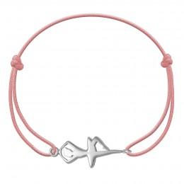 Bracelet avec une ballerine en argent sur un cordon fin rose