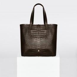 Sac shopper, crocodile brun