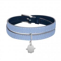 Bracelet en cuir double tour bicolore avec une main de Fatima en argent