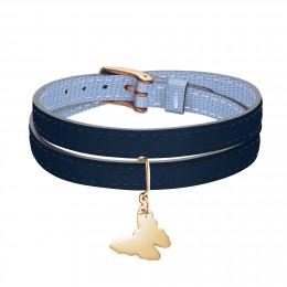 Bracelet en cuir double tour bicolore avec un papillon plaqué or