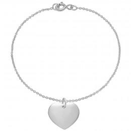 Bracelet avec cœur en argent sur une chaîne fine classique