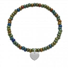 Bracelet en billes de cristal vertes opalisées avec un coeur d'argent