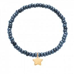 Bracelet avec une étoile dorée avec des perles opalines bleu marine en cristal
