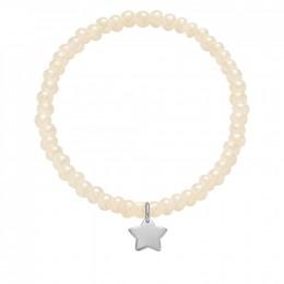 Bracelet avec une étoile en argent avec des perles de cristal nacré opaline