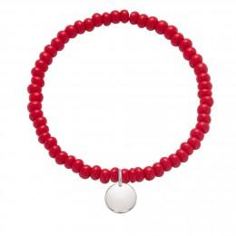 Bracelet en billes de cristal rouges avec un médaille d'argent