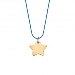 Collier avec une étoile plaquée or sur un fil bleu épais de première qualité