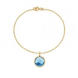 Bracelet avec pendentif quartz bleu sur chaîne fine classique, plaqué or