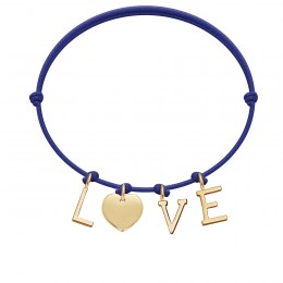Bracelet LOVE, lettres et coeur plaqué or, sur cordon classique bleu roi