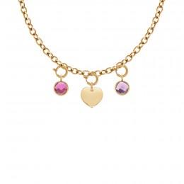 Collier Chaîne No.1 avec coeur et pendentifs quartz rose et violet