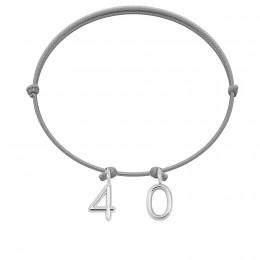 """Bracelet """"40"""" sur cordon gris clair"""