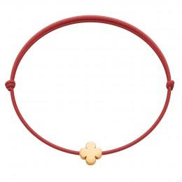 Bracelet avec une trèfle Étincelle plaquée or sur un cordon fin rouge