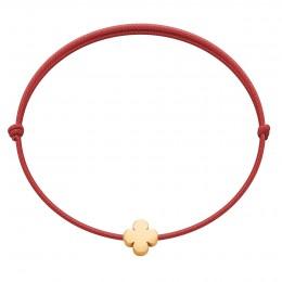 Bracelet Etincelle avec trèfle rond en or 585 sur cordon rouge fin