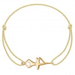 Bracelet avec une ballerine plaquée or sur un cordon épais doré premium