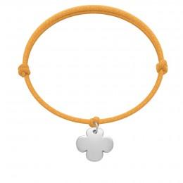 Bracelet avec un trèfle rond en argent sur un cordon épais de couleur orange fluo