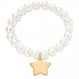 Bracelet en grandes perles blanches avec une étoile plaquée or