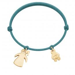 Bracelet avec fille et bébé plaqués or sur un cordon épais bleu turquoise