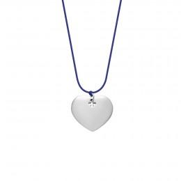 Collier avec cœur en argent sur un cordon fin bleu bluet