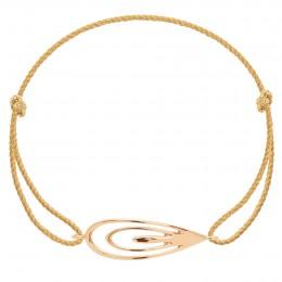 Bracelet avec un Paon plaqué or sur un cordon épais doré premium