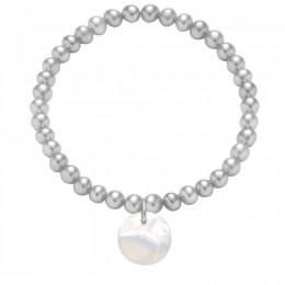 Bracelet en mini-perles argentées avec un médaillon en nacre
