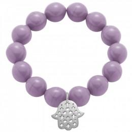 Bracelet avec une main de Fatma ajourée en argent - grandes perles violettes en cristal