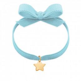 Bracelet sur ruban bleu ciel avec une étoile dorée