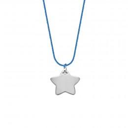 Collier avec une étoile d'argent sur un fil bleu épais de première qualité