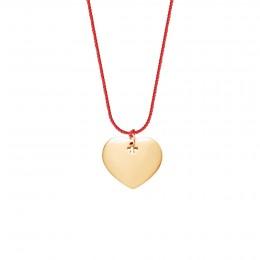 Collier avec un coeur plaqué or sur un fil rouge épais de première qualité