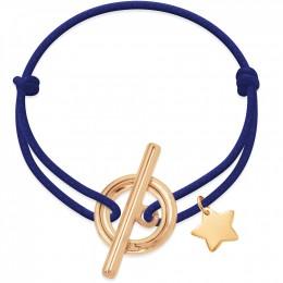 Bracelet avec une fermeture Gisèle et une étoile dorée sur une ficelle épaisse bleu bleuet