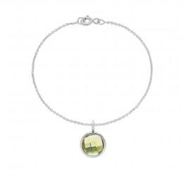 Bracelet avec pendentif quartz vert sur chaîne fine classique, plaqué argent