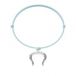 Bransoletka z posrebrzanym Bykiem na cienkim błękitnym sznurku