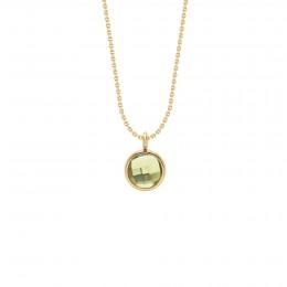Collier avec pendentif quartz vert sur chaîne fine classique, plaqué or