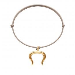Bransoletka z pozłacanym Bykiem na cienkim beżowym sznurku