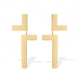 Boucles d'oreilles Cross, plaqué or
