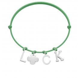 Bracelet LUCK, lettres et trèfle rond plaqué argent, sur cordon classique vert gazon