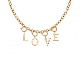 Collier LOVE avec lettres, plaqué or