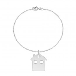 Bracelet avec maison sur chaîne fine classique, argent