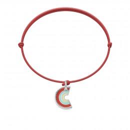 Bransoletka z zawieszką Rainbow na cienkim czerwonym sznurku