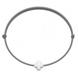 Bracelet avec une trèfle Étincelle en argent sur un cordon fin gris foncé