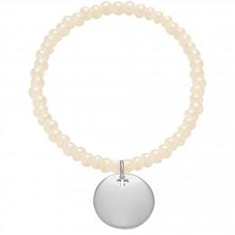 Bracelet en billes de cristal nacrées et opalisées avec un médaille d'argent