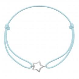 Bracelet avec étoile ajourée en argent sur un cordon fin bleu clair