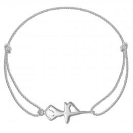 Bracelet avec une ballerine en argent sur un cordon épais argenté premium