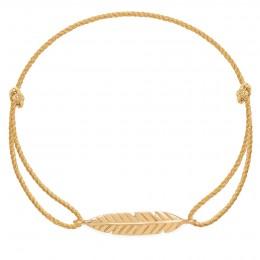 Bracelet Plume en or585 sur un cordon épais doré premium