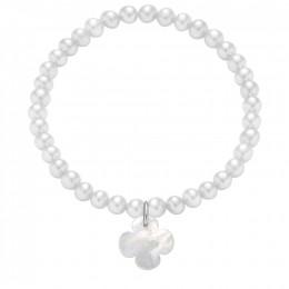 Bracelet en mini-perles blanches avec un trèfle rond en nacre