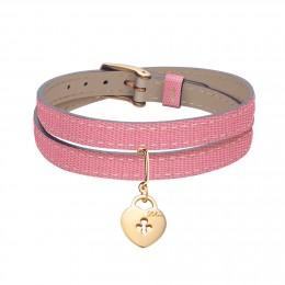 Bracelet en cuir double tour bicolore avec un cadenas plaqué or