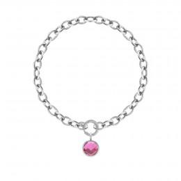 Bracelet chaîne No.1 avec pendentif quartz rose