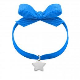 Bracelet ruban de couleur saphir avec une étoile en argent